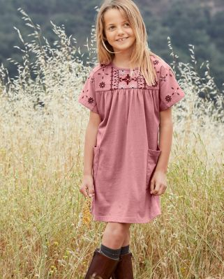 Girls' Embroidered Wide-Sleeve Knit Dress