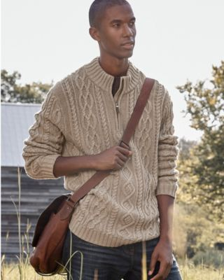 Men's Cabled Quarter-Zip Sweater