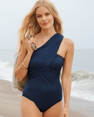 Garnet Hill Ruched Wrap One-Piece Swimsuit