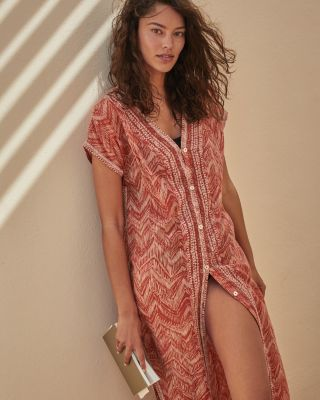 Button-Front Kaftan Cover-Up