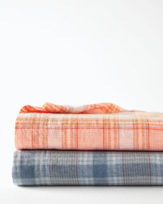 Relaxed-Linen Plaid Bedding