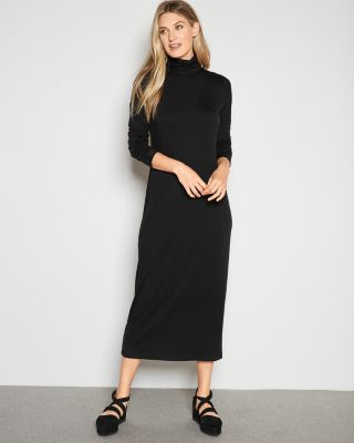 EILEEN FISHER Fine TENCEL™ Jersey Scrunch-Neck Maxi Dress