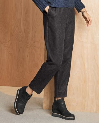 EILEEN FISHER Soft Wool Flannel Ankle Pants