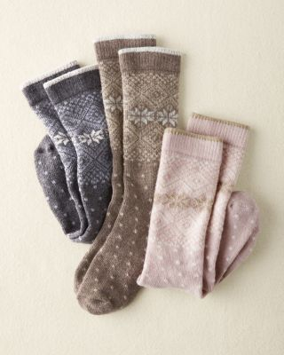 Wool & Cashmere Blend Fair Isle Socks