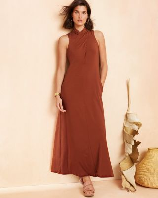 Mock-Neck Knit Maxi Dress