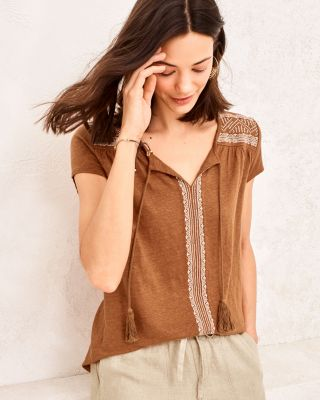 Embroidered Organic-Linen Split-Neck Tee