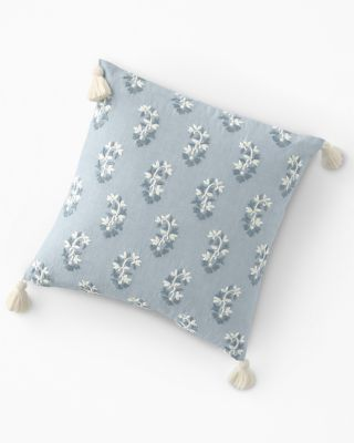 Embroidered Blue Paisley Pillow-Cover