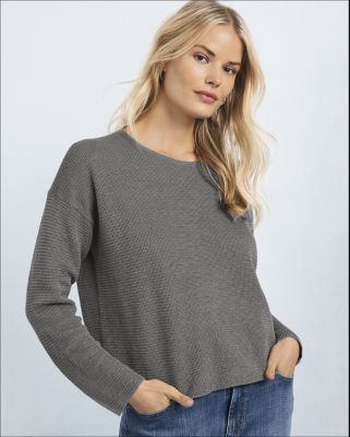 EILEEN FISHER Organic-Linen & Organic-Cotton Box-Top Sweater