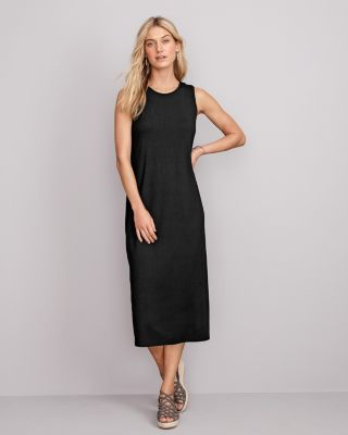 EILEEN FISHER Viscose Jersey Crew-Neck Midi Sleeveless Dress