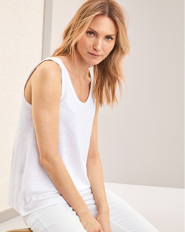 cfcb3e667e1 EILEEN FISHER Linen-Jersey U-Neck Long Tank - Regular