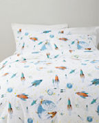 Glow-in-the-Dark White Rockets Flannel Duvet Cover
