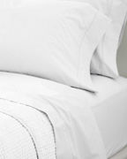 Unembellished White Percale Fitted Sheet