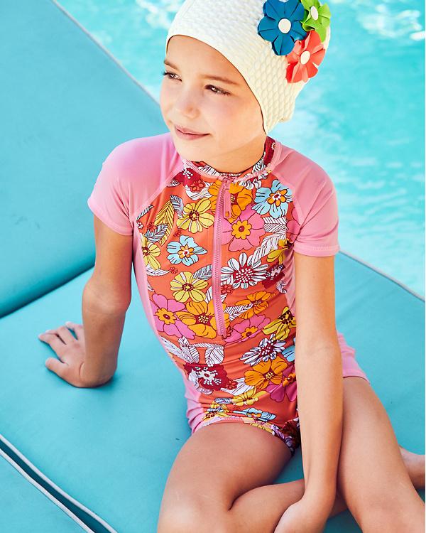 eed48e83a8c70 Wave Rider Girls' One-Piece Rashguard Swimsuit | Garnet Hill