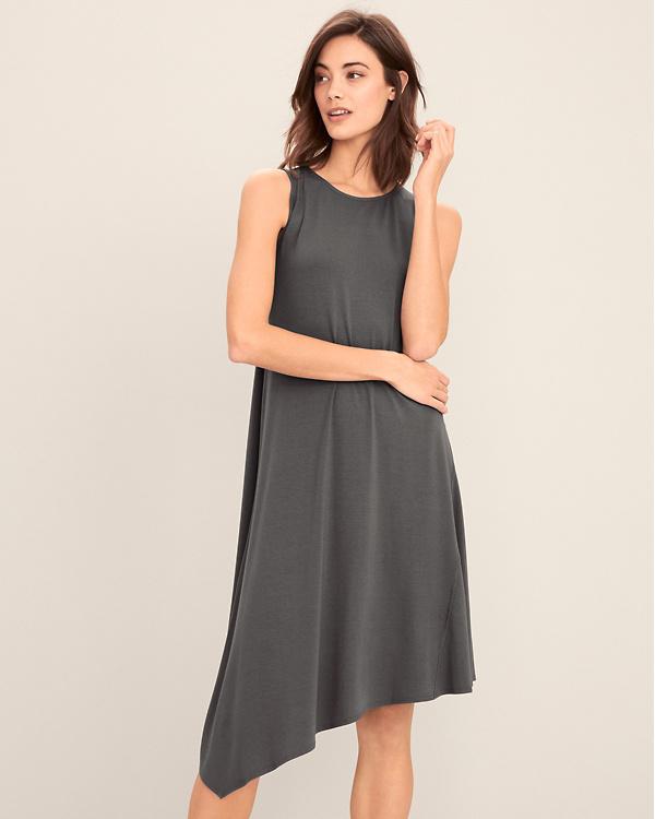 457c7b61e122 EILEEN FISHER Viscose-Jersey Asymmetrical Tank Dress - Regular
