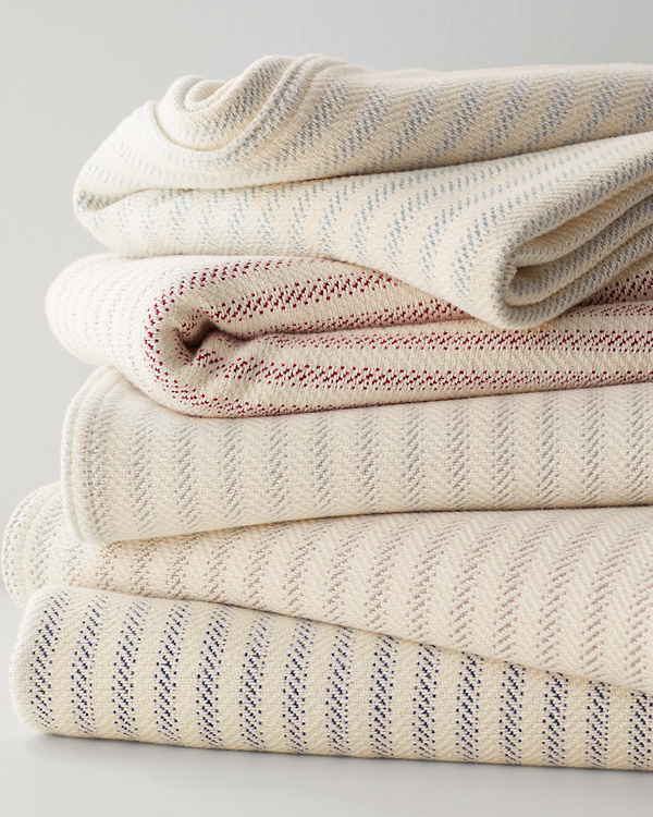 cotton ticking stripe blankets and throws garnet hill
