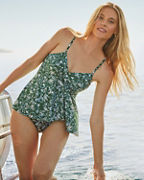 Garnet Hill Retro Ruched-Overlay One-Piece Swimsuit