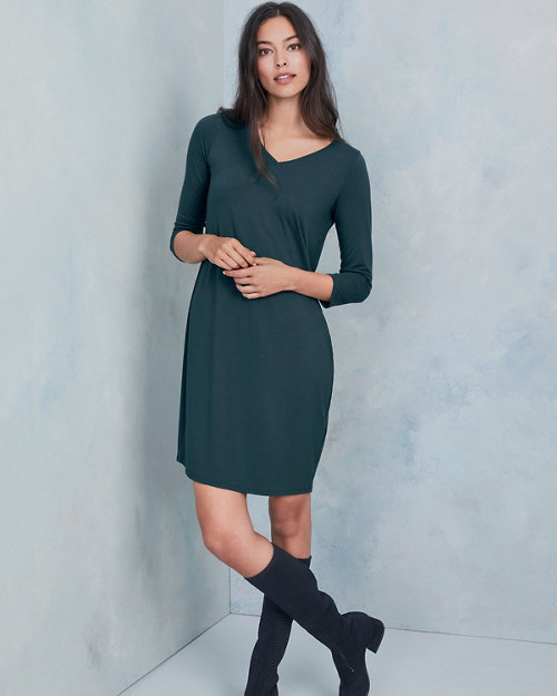 EILEEN FISHER Viscose-Jersey Three-Quarter-Sleeve V-Neck Dress 5a36b0427