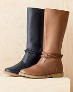 Kids' Elephantito Braid-Detail Tall Leather Boots