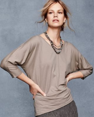 V Neck Batwing Sleeve Tee by Garnet Hill