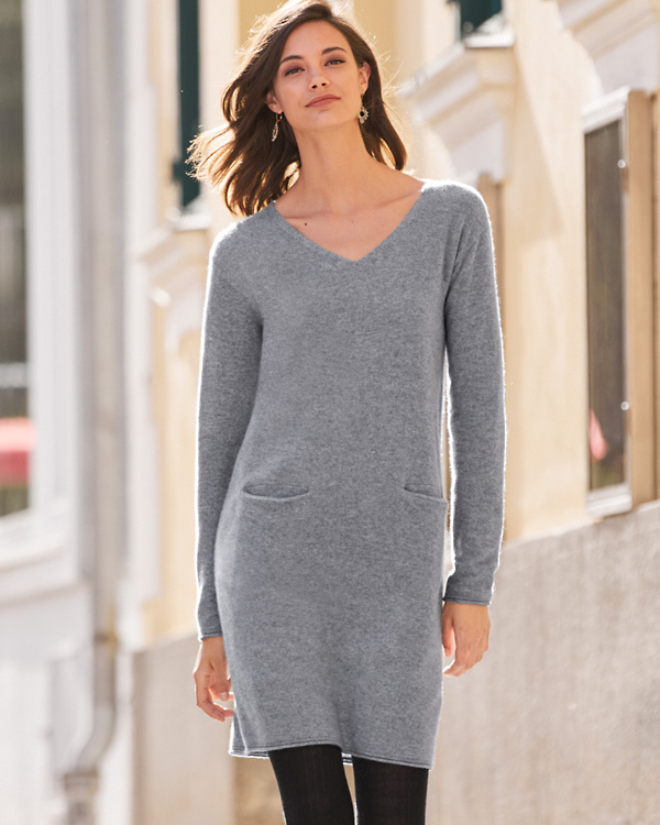 Ginia Cashmere Gowns Wrap Gown: Easy V-Neck Cashmere Dress