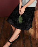 Burnout Velvet Midi Skirt