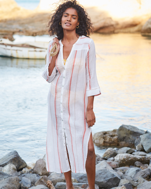 fe7647339c Organic-Cotton Side-Slit Shirtdress | Garnet Hill