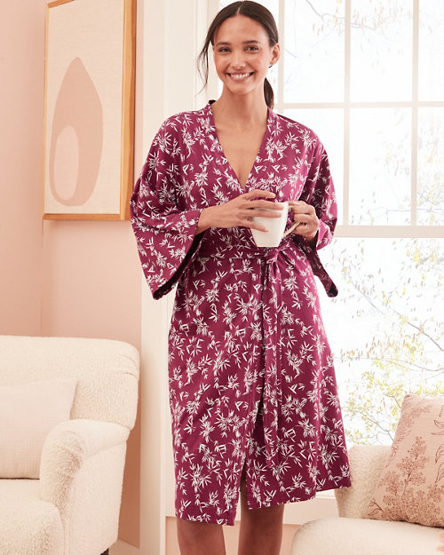 Asian Wrap Organic-Cotton Batwing Kimono Robe e8173c0ef