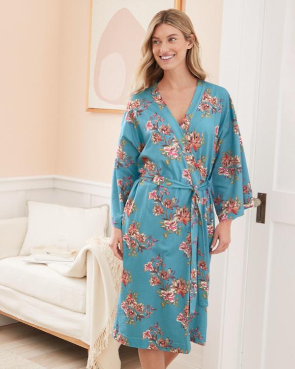 eda587c1d0 Asian Wrap Organic-Cotton Batwing Kimono Robe