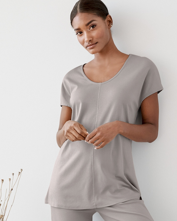 fa84a9666a EILEEN FISHER Seam-Detail Cap-Sleeve Pajama Top