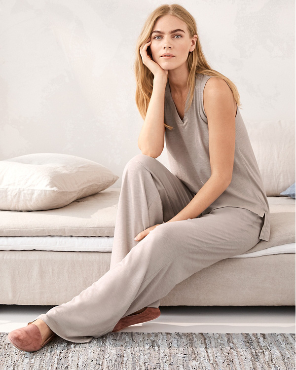 bfc77bc682 EILEEN FISHER Organic-Cotton Crossover-Placket Sleeveless Pajamas ...