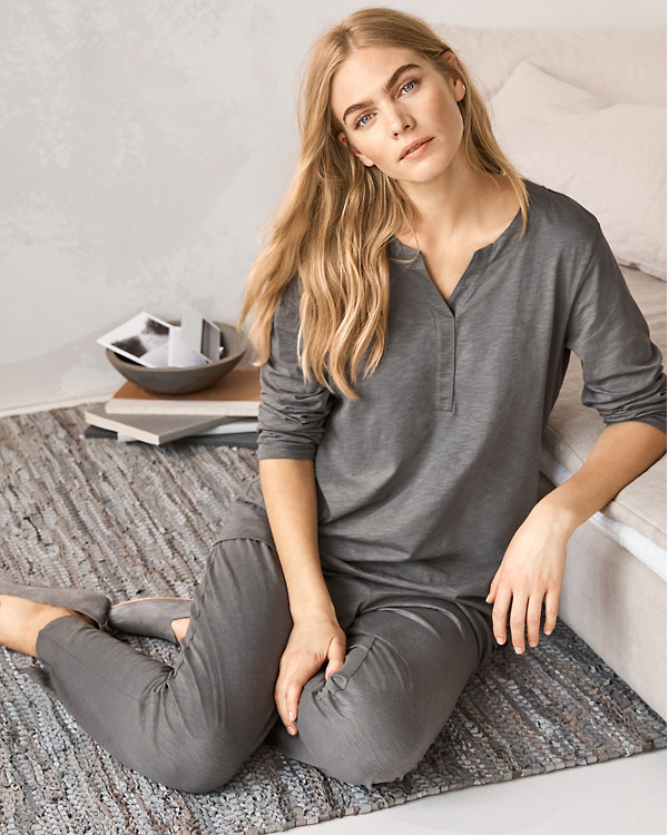 0cb39974fa EILEEN FISHER Organic-Cotton Crossover-Placket Pajamas