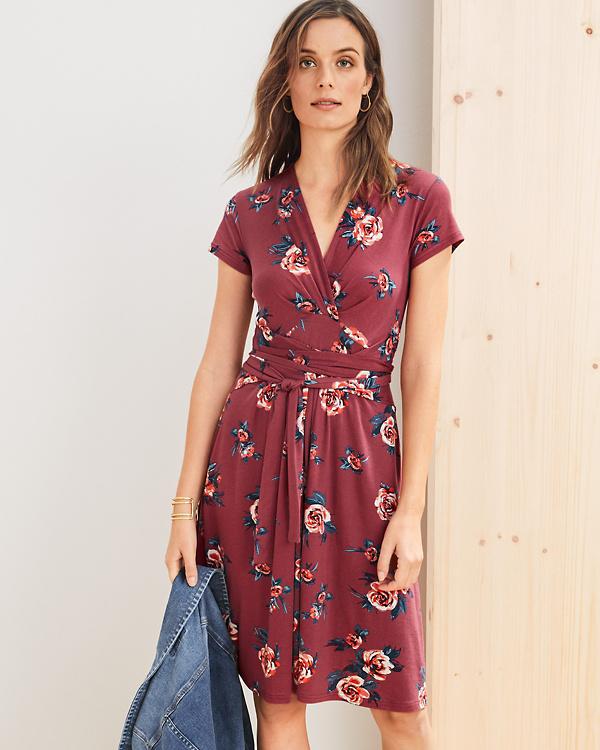 ffa6604ac81 Tie-Waist Ruched Knit Dress