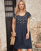 Organic-Cotton Embroidered Knit Dress