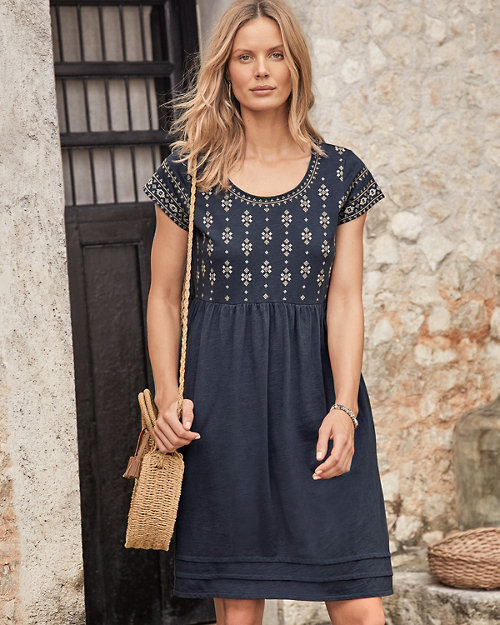 ce148bd9d43 Organic-Cotton Embroidered Knit Dress