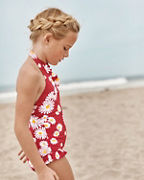 Girls' Ruffle-Trimmed Halter One-Piece Swimsuit