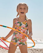 Girls' Wave Rider Scrunch-Back Tankini Top
