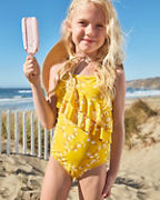 Girls' Cascading-Ruffle One-Piece Swimsuit