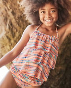 Girls' Tiered-Ruffle Tankini Top