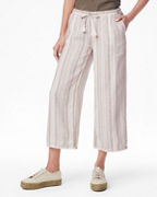 Linen Lace-Trimmed Cropped Pants
