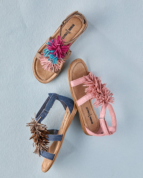 fb31fae48 Kids  Minnetonka Pom-Pom-Fringe Sandals