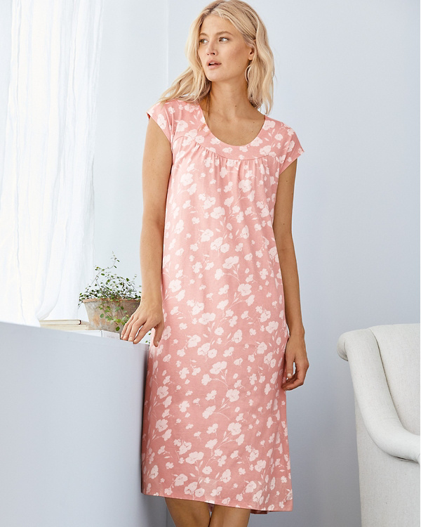 72369c36a2 Organic-Cotton Ruched-Seam Knit Sleep Gown