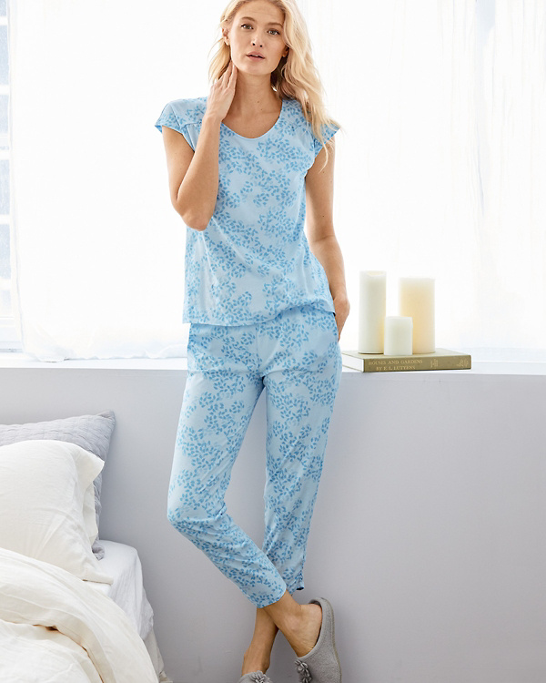 51c83e7e1f Organic-Cotton Ruched-Seam Knit Pajamas