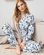 Organic-Pima-Cotton Flannel Mandarin Pajama Top