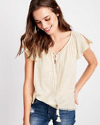 Lilla P Lace-Up Gauze Top