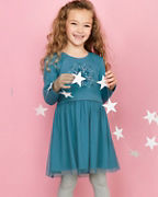 Girls' Tulle & Knit Holiday Dress
