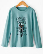 Boy's Organic-Cotton Long-Sleeve Graphic Tee