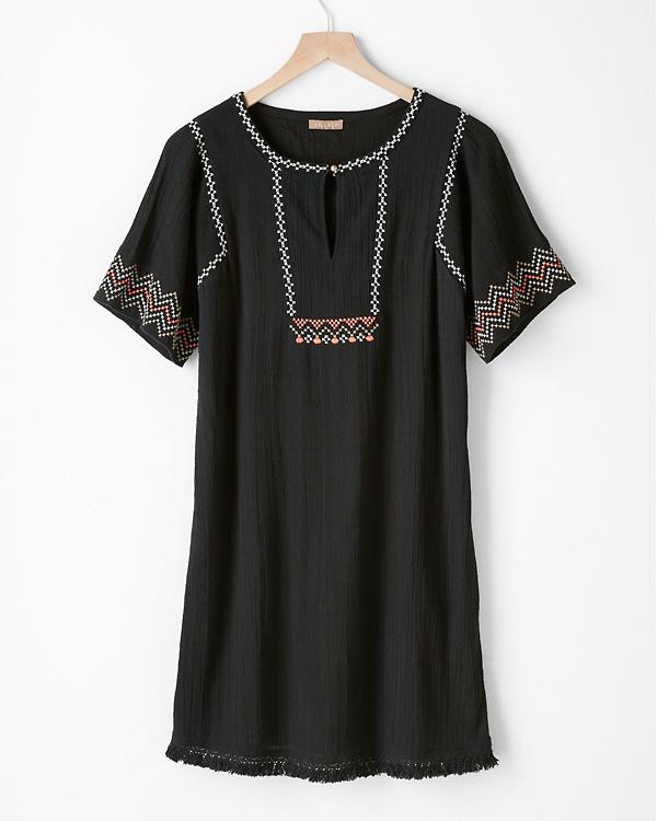 a02c2ecec23d4 Lilla P Embroidered Short-Sleeve Dress | Garnet Hill