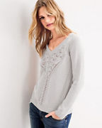 V-Neck Pointelle-Detail Sweater