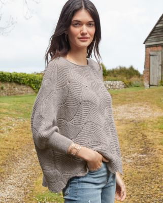 New Alpaca Open Stitch Batwing Sweater by Garnet Hill