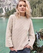 Cabled Bell-Sleeve Sweater